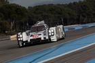 Brendon Hartley gives the 919 hybrid Porsche LMP1 a workout at the Paul Ricard circuit.
