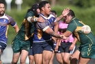 Rotorua's Central Rugby League Club lost to Pacific 108-0 on Saturday. Pictured is Pacific player Kallin Tereu off-loading during the match. Photo/Ben Fraser