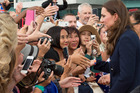 Catherine, Duchess of Cambridge meets members of the public at Auckland Harbour.  Photo / Getty