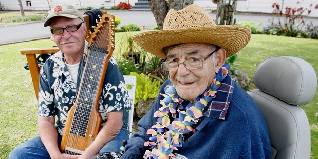 Glen Cross (left) with Doug Lomax  last year when they formed the Lomax Steel Guitar and Ukulele Club. Photo/File