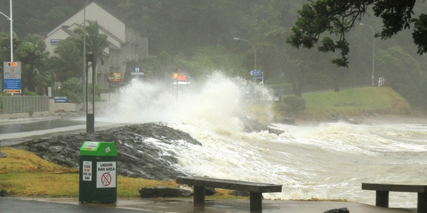 Severe weather, similar to last month's battering of Marsden Rd in Paihia, is expected  tomorrow. Photo/File