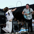 Matt Schultz, left, and his brother Brad Schultz of Cage The Elephant perform during the band's set. Photo / AP