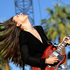 Danielle Haim, left, and her sister Este of the band HAIM perform together during day one of the 2014 Coachella Music and Arts Festival. Photo / AP