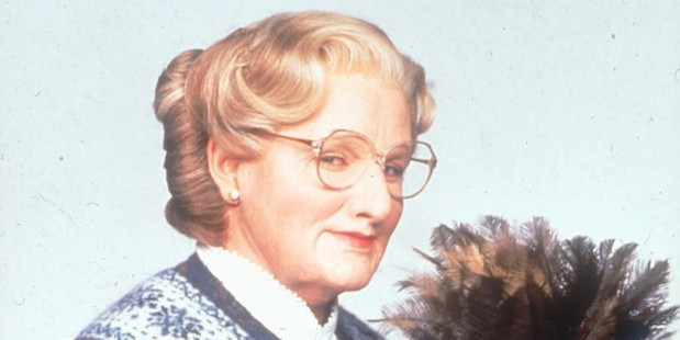 Robin Williams pictured as Mrs Doubtfire.