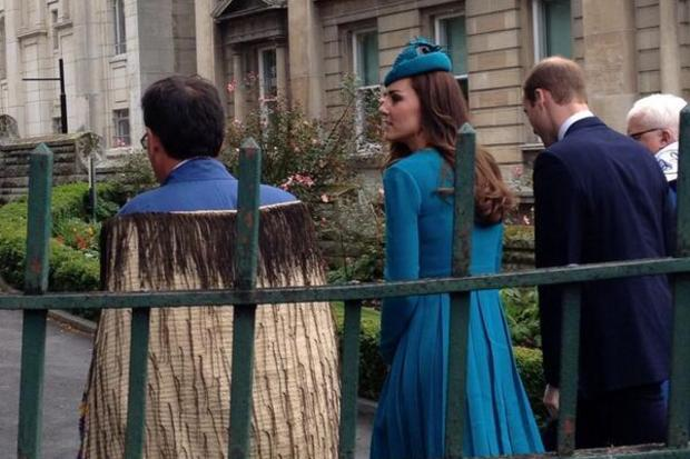 The Duke and Duchess walking up to the Palm Sunday service. Photo / Twitter  / Governor General