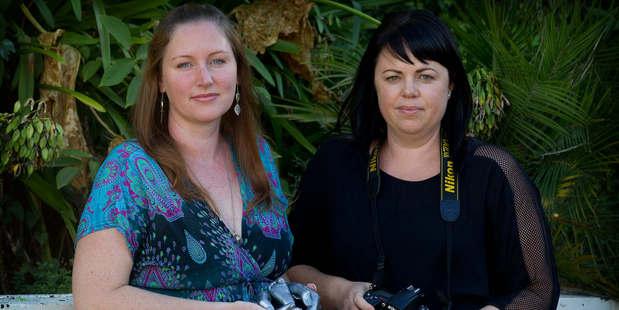 Caster Jen Christiansen (left) and photographer Cassie Emmett record stillborns for families. Photo / Christine Cornege