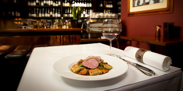 O'Connell Street Bistro's Limousin veal fillet, truffle gnocchi, broad beans, peas and Bacon, panko crumbed veal sweetbreads and porcini jus. Photo / Sarah Ivey