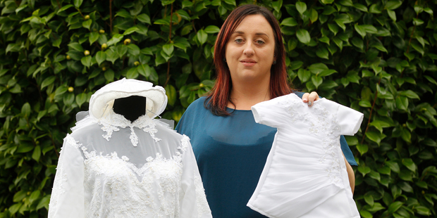 Kirstin Rouse From Angel Gowns NZ, has started making gowns for stillborn babies from donated wedding dresses. Photo / New Zealand Herald / Christine Cornege.