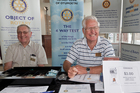 Chris Rickard (left) and Keith McLeod from Rotary at the door.