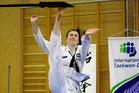Tauranga's Maddison Black was dynamic at the Regional ITF Taekwondo tournament at Aquinas College Hall on Sunday. Photo/George Novak