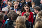 The Duke and Duchess of Cambridge are greeted by a large crowd that gathered at Latimer Square in Christchurch. Photo / Greg Bowker