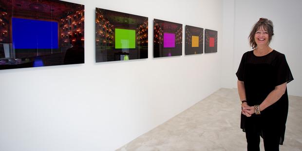 Trish Clark with works by Kimsooja and Hiroshi Sugimoto. Photo / Sarah Ivey