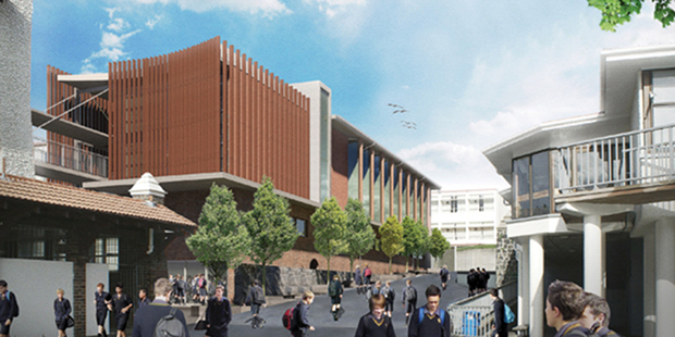 An artist's impression of a new building proposed for Auckland Grammar School.