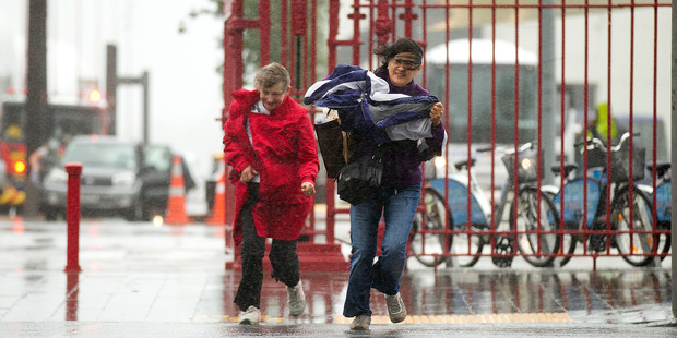 Heavy wind and rain battered Auckland on Thursday. Photo / New Zealand Herald Photograph / Dean Purcell