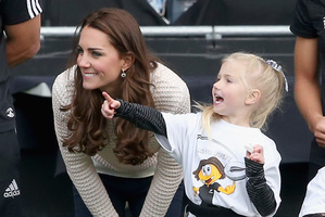 Catherine, Duchess of Cambridge watches 'Rippa Rugby'.