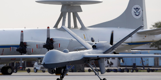 2011 file photo, a Predator B unmanned aircraft taxis at the Naval Air Station in Corpus Christi, Texas. Photo / AP