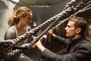 Theo James as Four and  Shailene Woodley as Tris strike up a bond in Divergent.