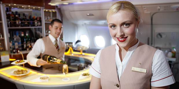 Members of Emirates' cabin crew know how to look glamorous after a long-haul flight.