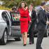 Kate wore a red Luisa Spagnoli dress converted into a jacket and skirt, Episode Angel black suede pumps and her Mulberry Bayswater clutch. Photo / Mark Mitchell