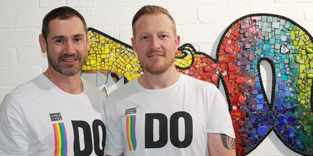 Paul McCarthy (left) and Trent Kandler were married after winning a competition by Tourism NZ.