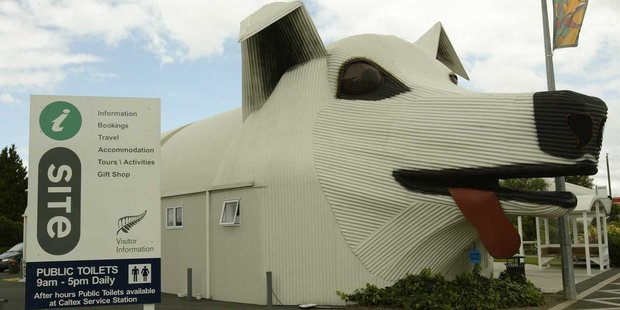 The Tirau Information Centre is one of two giant corrugated iron sculptures in town. Photo / Amos Chapple