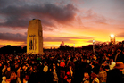 Thousands of people at the Anzac Day dawn service at the cenotaph at the Auckland War Memorial Museum. Photograph: Greg Bowker