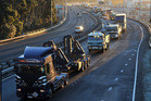 The motorway jammed with trucks in Wellington. Photo / File