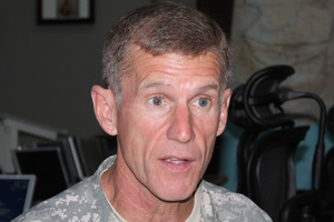Ex-US General Stanley McChrystal's company McChrystal Group takes lessons he learned hunting down al-Qaida and teaches them to businesses facing upheaval. Photo / NZPA Maggie Tait