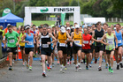 Runners leave the start during the Hastings half marathon which started and finished at the Havelock North Rugby Clubrooms.