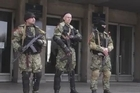 Armed men and pro-russian protestors are on Monday still occupying the governmental building of the police and secret services in Slavyansk, in the East of Ukraine.