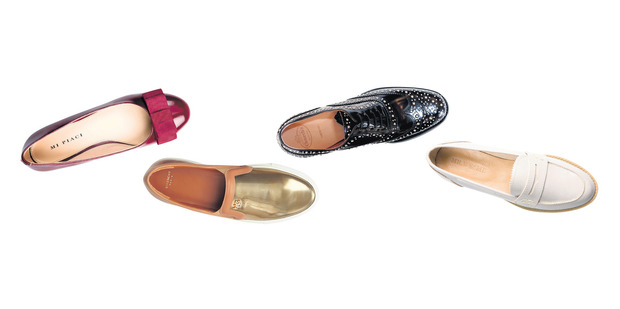 Mi Piaci ruby patent ballet flats $220; Givenchy slip-ons, about $1255; Church's black studded brogues, $825, from Scotties; Grey patent leather loafers, $129.99, from Mr W and Me. Photos / Supplied.