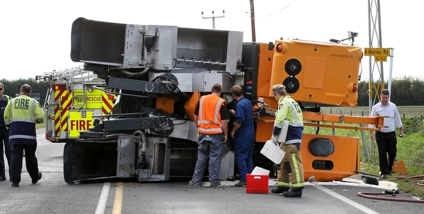 A grape harvester collided with a truck and trailer yesterday on Pakowhai Rd in Hastings. Photo/Duncan Brown