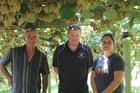 ORGANISED: Owen St George and daughter Jackie with DMS orchard manager Matt Greenbank (centre). They recently won a DMS award for their outstanding production of Hayward green for the highest number of trays per hectare in the 2013 season.