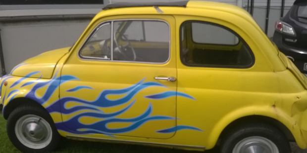 """The Blues' 1966 Fiat Bambina, a high-profile reward for the team's """"dick of the week"""". Photo / File."""