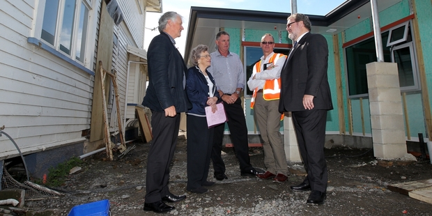 Checking out progress at the Springhill Residential Addiction Centre are Dr Tim Bevin (left) and Erica Toomey, Terry Simkin, Phil Elms and Napier Mayor Bill Dalton. Photo/Duncan Brown