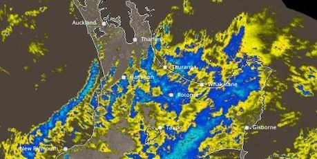 A rain radar snap shot of what was falling at 1.35pm.