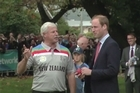 The Duke and Duchess play cricket in Latimer Square, and former New Zealand stars Sir Richard Hadlee and Debbie Hockley spoke to the couple before the royals took up a bat and ball.
