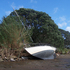 Yacht washed up on rocks at Algies Bay. Photo / Aaron Griffiths