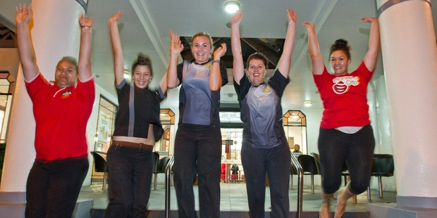 ENTHUSIASTIC AND KEEN: Charles Ranginui (left), Renee Atkins, Michelle Richards, Gemma Mitchell and Savanna Wharehinga-Clark from McDonald's Taradale can't wait to start the Country2Coast. PHOTO / GLENN TAYLOR HBT141823-02
