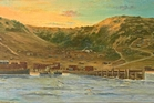 Anzac Cove as depicted in an oil painting by artist A.A. Forrester.