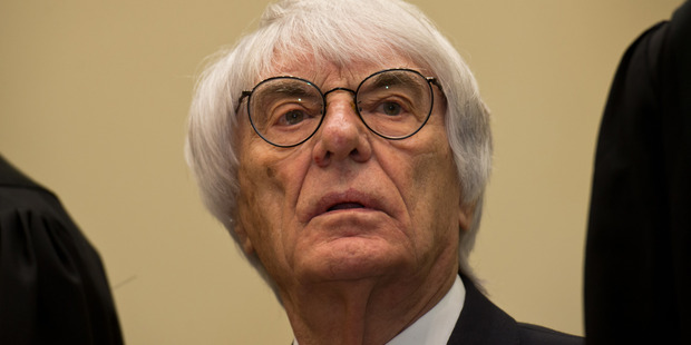Bernie Ecclestone, the 83-year-old controlling business magnate in Formula One racing, waits for the first day of his trial for bribery.Photo / Getty Images