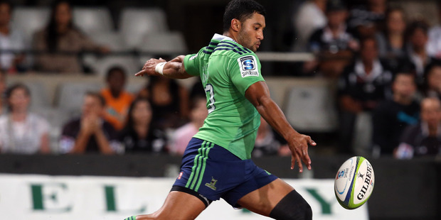 Lima Sopoaga of the Highlanders kicks for touch during the Highlander's match against the Sharks in Durban. Photo / Getty Images
