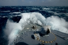 HMNZS Wellington in February battled through 14m swells in the Southern Ocean, which along with the North Atlantic can produce the most extreme seas. Photo / Greg Bowker
