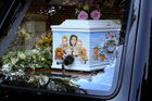 The coffin of Peaches Geldof arrives at Bob Geldof's home ahead of her funeral service at St Mary Magdalene and St Lawrence Church in Davington. Photo/AP