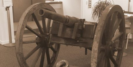 A gun from the Battle of Gate Pa 150 years ago on display at the ANZ Bank in Greerton.