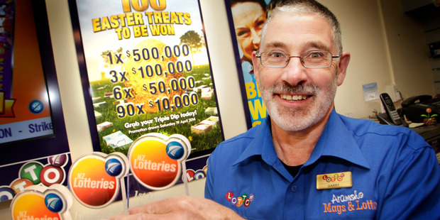 The odds of selling three prize-winning tickets in the same Lotto promotion must be very long indeed but Gary McElwain and his team at Aramoho Mags and Lotto have done it. Photo/Bevan Conley