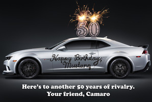 Chevrolet Camaro's cheeky 50th message. Photo / Supplied