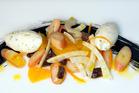 Octopus salad and fresh tarragon cream. Photo / Michael Craig
