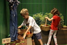 Waikato Museum's knitted vegetable garden is a hit with the kids.