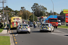 The scene  after a car hit a pedestrian on Fraser St in Fraser Cove yesterday afternoon. Photo/Ruth Keber